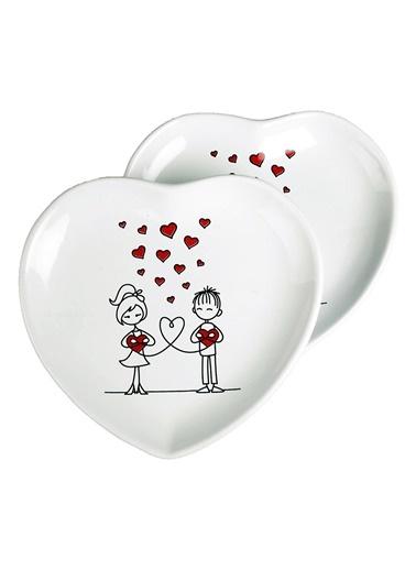 2 Li Şeker Peker Kalp Pasta Tabağı-Joy Glass